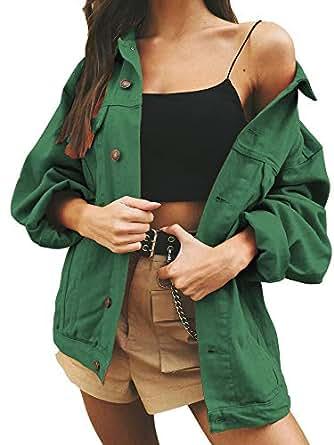 Just Quella Women's Oversize Vintage Washed Boyfriend Denim Jacket Long Sleeve Classic Loose Jean Trucker Jacket (L, Green Washed)