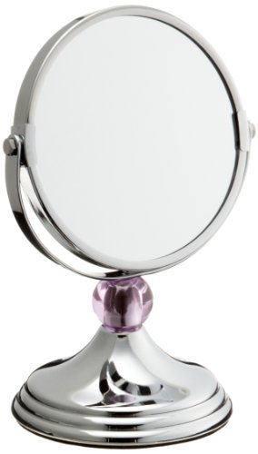 Taymor Chrome Mini Countertop Glamour Mirror with Purple Ball ()