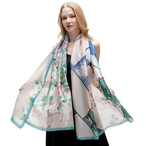 Scarf Silk New Shawl (RIIQIICHY Silk Like Scarfs for Women Lightweight Satin Scarves for Spring Summer Floral Fashion Shawl Wrap)