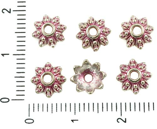 40pcs Antique Silver Tone Valentine Pink Patina Wash Bead Cap Flower Floral Tassel Bali Bohemian Metal Findings 8mm x 3mm