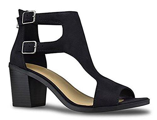 (SODA Women's Open Toe Double Buckle Cutout Stacked Heel Sandal, mve Shoes Allure Black Size 9 )