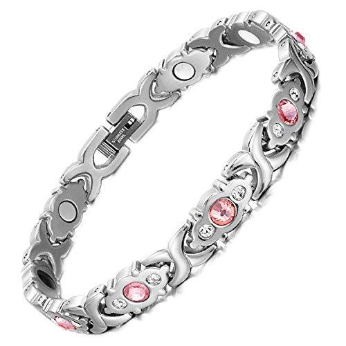 - cengXY160h Female Bracelet Shiny Crystal Stainless Steel Fashion Jewelry Magnetic Hologram Bracelet Charm Chain & Link Bangle,Silver Bracelet