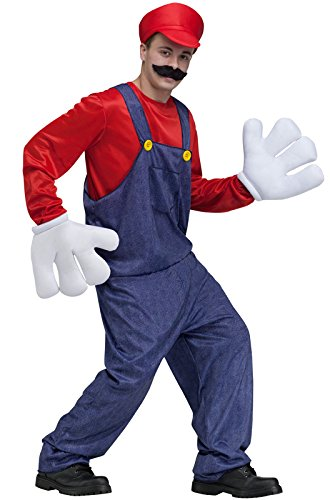 Luigi Costumes Adult (Video Game Guy Costume - Standard - Chest Size 33-45)