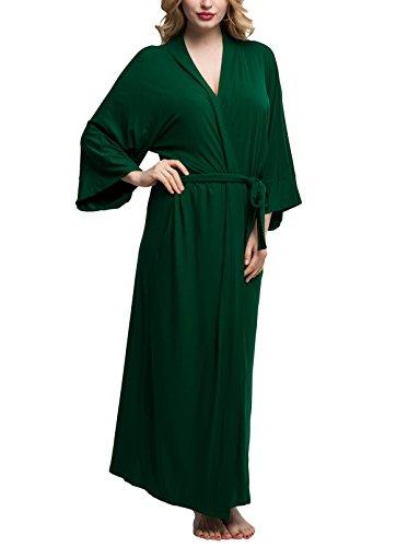 Green Robe (Original Kimono Women's Solid-colored Long Kimono Robe Bathrobe Green,Size S)