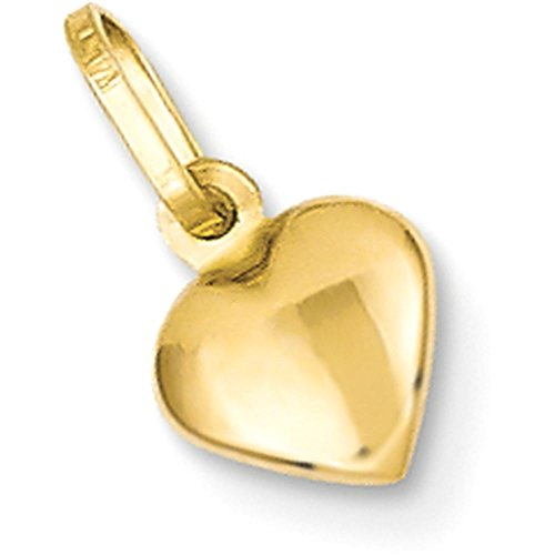 14k Gold Hollow Puffed Heart Pendant Charm - (Yellow Gold, 0.38 Inch (Solid Gold Heart Pendant Charm)
