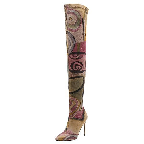Vivi Women Suede Over Knee The Thigh High Heel Boots Size 7]()