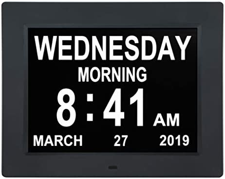 Newest Version 10 INCH Digital Calendar Day Clocks Extra Large Non-Abbreviated Day Month with 5 Alarm Options,Perfect for Seniors Impaired Vision Dementia