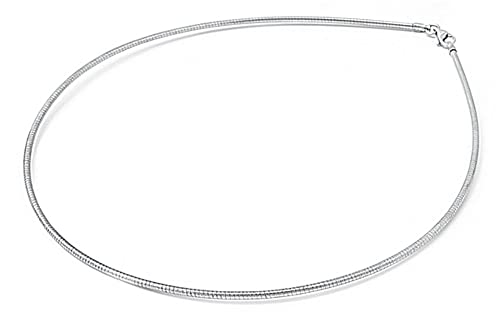 Amazon.com: Sterling Silver Round Omega Snake Chain 1.6mm Solid 925 ...