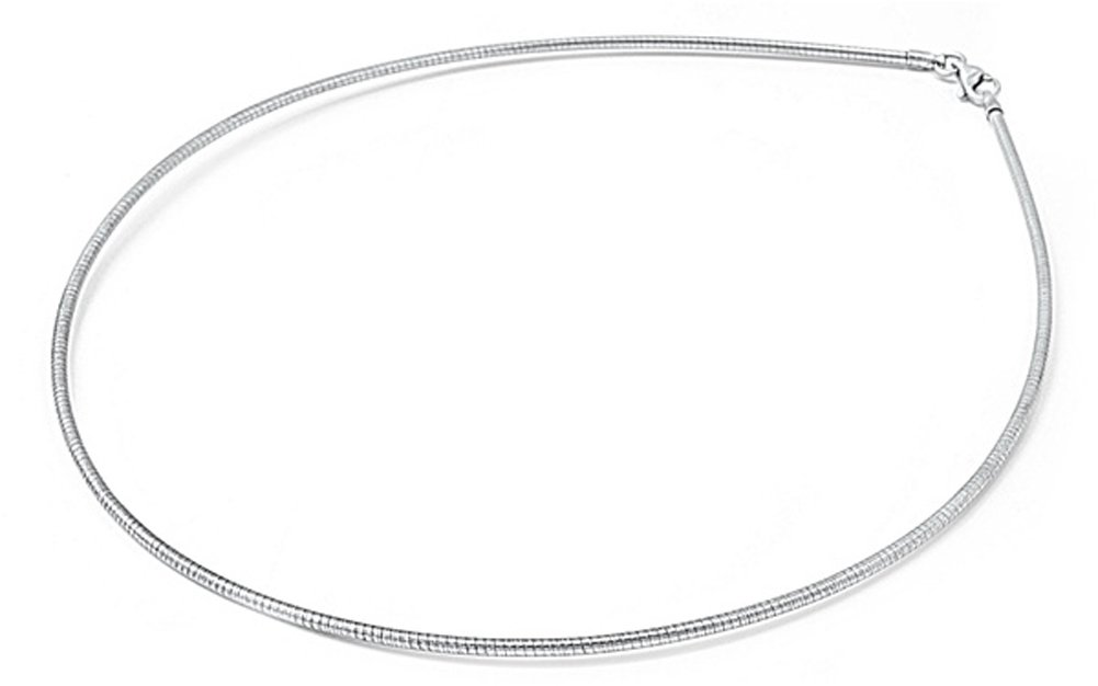 Sterling Silver Round Omega Snake Chain 1.3mm Solid 925 Italy Wire Necklace 15''