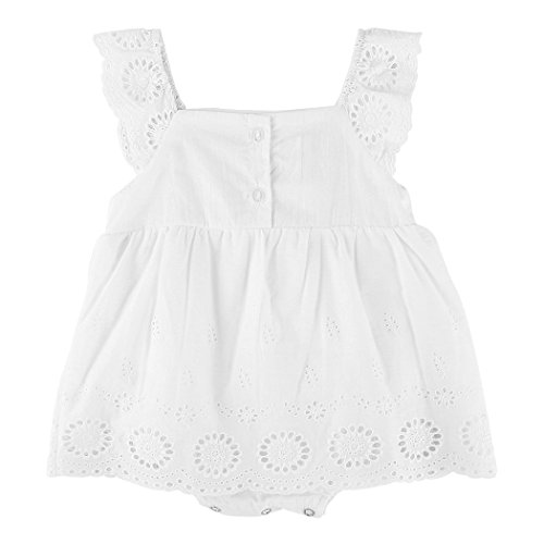 FUNOC Infant Baby Girls Princess Tiered Eyelet Dress Embroidered Hollow Out Flower Tutu Rompers Dress
