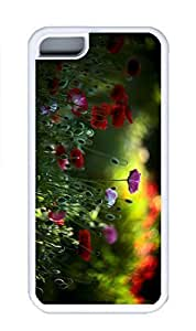 iPhone 5C Case, Personalized Custom Rubber TPU White Case for iphone 5C - Flowers Cover