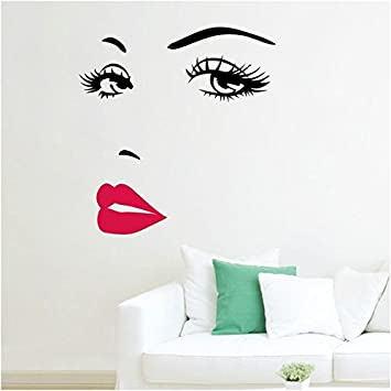Amazon.com: Women\'s Face Star Decor Nice Sticker Removable Wall ...