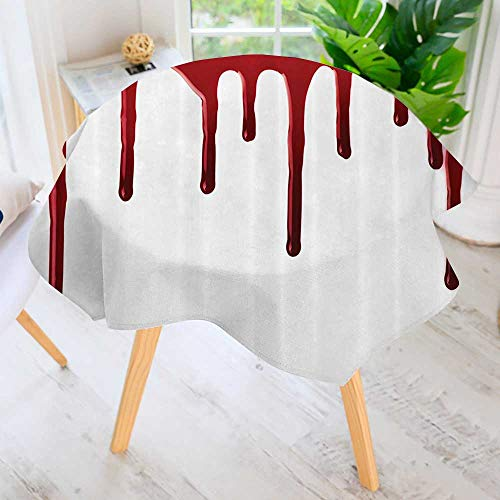Philiphome Round Tablecloth-Flowing Blood Horror Spooky Halloween Zombie Crime Scary Help me Themed Waterproof Wine Tablecloth Wedding Party Restaurant 50