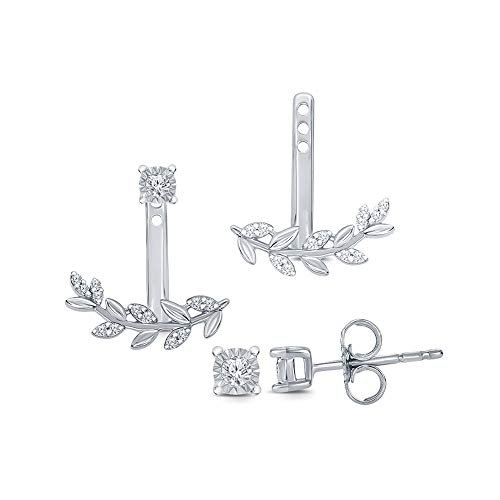 - 1/10 ct Round Natural Diamond 925 Sterling Silver Fancy Leaf Jacket Cuff Stud Diamond Earring Mothers Day Jewelry Gift