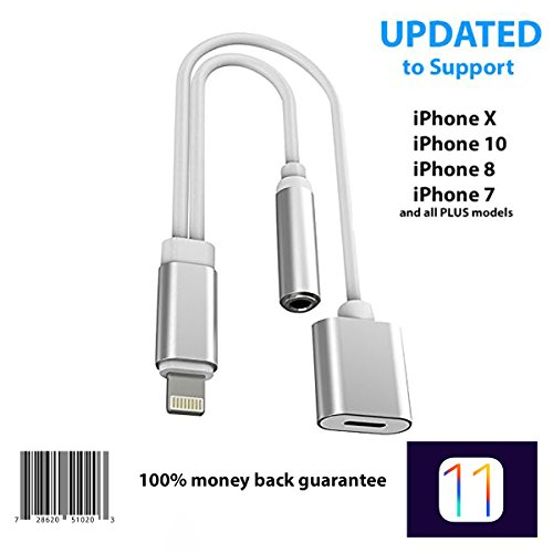 iPhone Splitter for 7 / 8 / 10 / X Adapter Cable By Tip-Top Home Goods 2 in 1 Lightning Charging Port 3.5mm Aux Headphone Jack iOS 11 for X / 8 / 7 and Plus Models