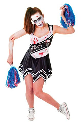 Bristol Novelty AC405 Zombie Cheerleader Costume, White/Black, UK Size -