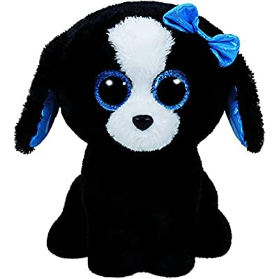 Ty Tracey Dog Plush, Black/White, Regular: Toys & Games
