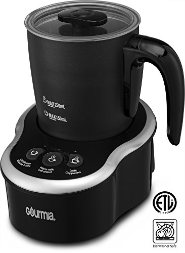 Cordless Electric Espresso Maker (Gourmia GMF235 Cordless Electric Milk Frother & Heater, 3 Touch Button Control for Hot / Cold Extra Foamy Froth or Heating Milk, Magnetic Whip, Dishwasher Safe)