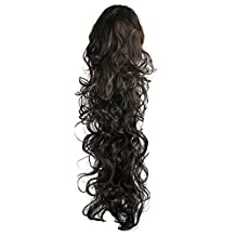 "SODIAL(R) 25.6"" Long Claw Clip Drawstring Ponytail Fake Hair Extensions False Hair Pony Tails Horse Tress Curly Synthetic Hairpieces Pieces Black"