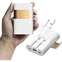 iWALK 10000mAh Power Bank Portable Charger with Built in Type C & Micro USB Cable, QC 3.0 & 18W PD External Battery Pack Compatible with iPhone Xs/XS Max/X 8 7 6 Samsung Galaxy and More, White