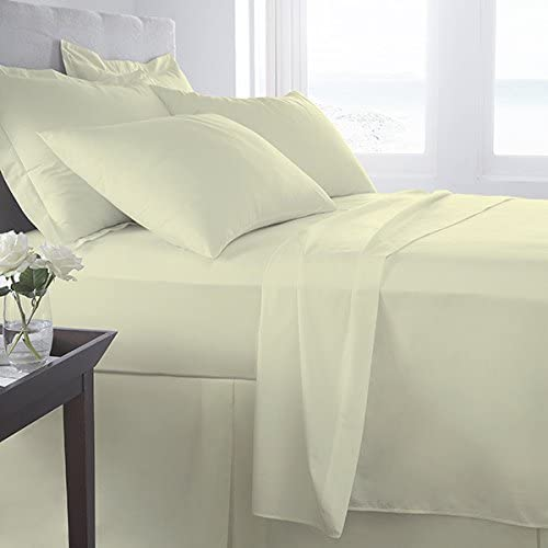 Egyptian Cotton Fitted Bed Sheet Double Size Bed New 800 Tread Count High Quality Plain Bedding Cream