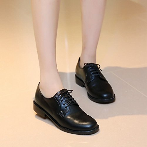 Oxford Flat Black Shoes Up Lace Latasa Dress Women's BXvRxR