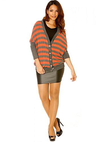 dmarkevous - Magnifique gilet orange et gris très tendance - XL-XXL, orange