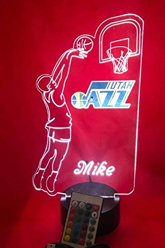 (Utah Handmade Acrylic Personalized Jazz NBA Basketball Player Light Up Light Lamp LED Table Lamp, Our Newest Feature - It's WOW, Comes With Remote,16 Color Option, Dimmer, Free Engraved, Great Gift)