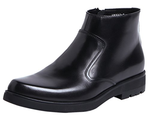 Santimon Mens Dress Formal Casual Chelsea Boots Zipper Leather Ankle Boots Formal Shoes by Black 6.5 D(M) US (Speedlace Black Leather Combat Boots)