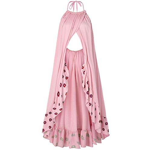 DOMUMY Dresses Sleeveless Maternity Dress, Women Pregnant Strap Pregnant Backless Photography Maternity Dress Print Lace Maternity Dress for Photography Pink