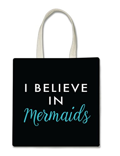 I Believe in Mermaids White and Teal Type Black Background Printed Tote Bag, 14.5x15
