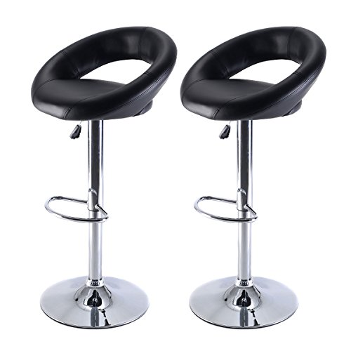 Alitop Set of 2 PU Leather Adjustable Swivel Bar Stool Hydraulic Chair - Black