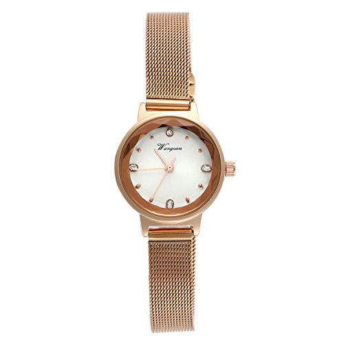 Ladies Japan Quartz Bracelet Bangle Crystal Rhinestone Dial Watch Stainless Steel Mesh Woven Strap (Rose Gold)