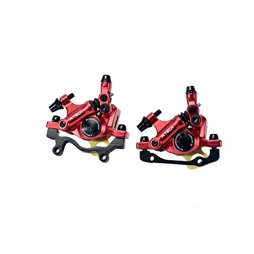 (Zoom- MTB Road Line Pulling Hydraulic Disc Brake Calipers Front & Rear (Red))