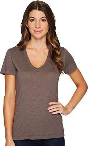 Mod-o-doc Women's Slub Jersey Short Sleeve V-Neck Tee Stone Medium