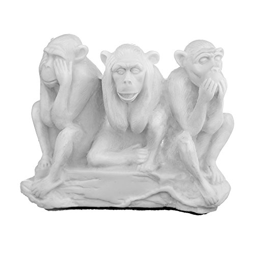 danila-souvenirs Decorative Marble Stone Figurine Statue Sculpture See, Hear, Speak No Evil Three Wise Monkeys 4.7'' White