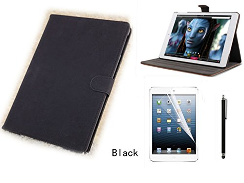 Kansang Black Luxury Vintage Leather Smart Case Stand Cover for Apple iPad Air 5 Retina Tablet with 1xScreen Protector and 1x Stylus Pen(Auto Sleep/Wake Function) and NOT for iPad Air 2