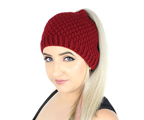 Braids Ponytails (Red Waffle Knit Ponytail Beanie Hat, Stretchy Messy Bun Knitted Skull Cap)