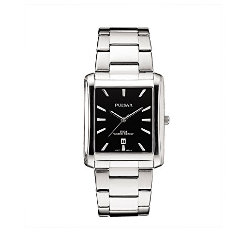 Pulsar PG8267 Unisex Silver Stainless Steel Band Black Quartz Dial Watch