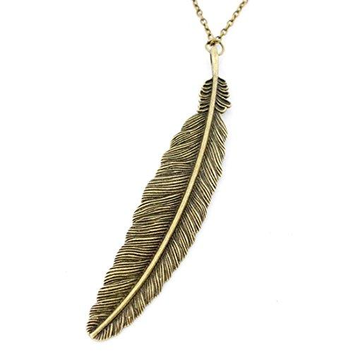 NEW Vintage Elegant Long Antique Feather Pendant Necklace