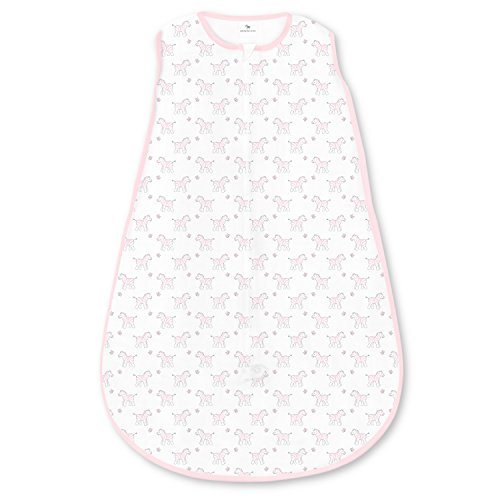 Amazing Baby Cotton Sleeping Sack with 2-Way Zipper, Tiny Zebra, Pastel Pink, Medium