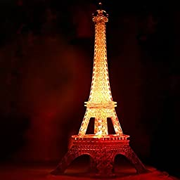 10 Inch LED Light Up Eiffel Tower, Built-in Color Changing Night Light, Battery Included Desk Lamp Centerpiece Cake Topper Decoration Gift