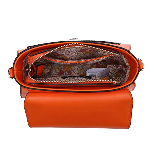 Ladies The Strap Zip Pink Long orange Inside 22x17x8cm And Shoulder Alessandro Collezione Handbag Back Detachable With Ca Pocket Trendy On Bag qvpaw