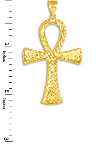 14k Yellow Gold Egyptian Ankh Cross Gold Pendant