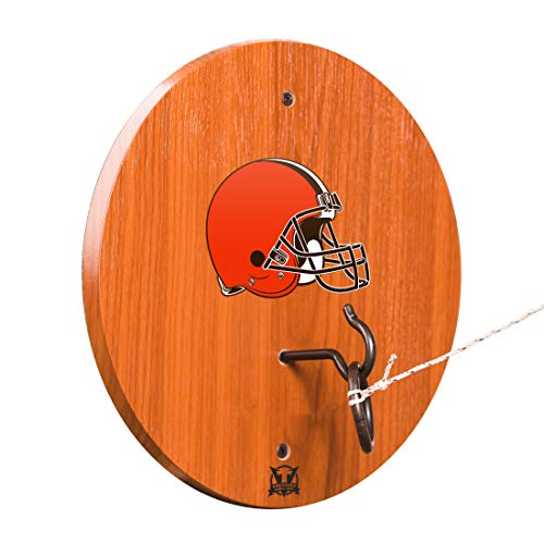 Victory Tailgate Cleveland Browns Hook & Ring Toss - All Wood Target with Rubbed Bronze Hook and Ring - More Teams ()