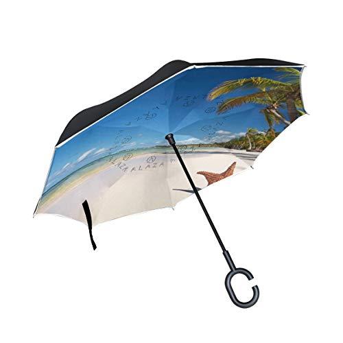Ladninag Reverse Umbrella Beach Starfish Coconut Tree Inverted Umbrella Reversible for Golf Car Travel Rain Outdoor -