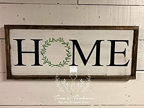Amazon.com: CELYCASY Home Sign with Wreath. Estilo granja ...