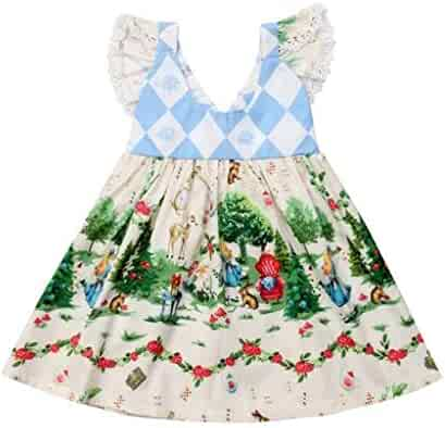 4d40714aad0 AutumnFall Toddler Kids Baby Girls Cartoon Floral Dress Princess Party  Pageant Tutu Dresses