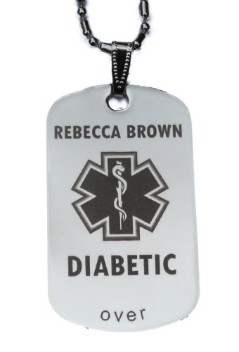 Custom Engraved Diabetes Diabetic Medical Alert Tag Pendant Necklace in Gold or Silver (Silver) - free personalization by (Health Engraved Pendant)