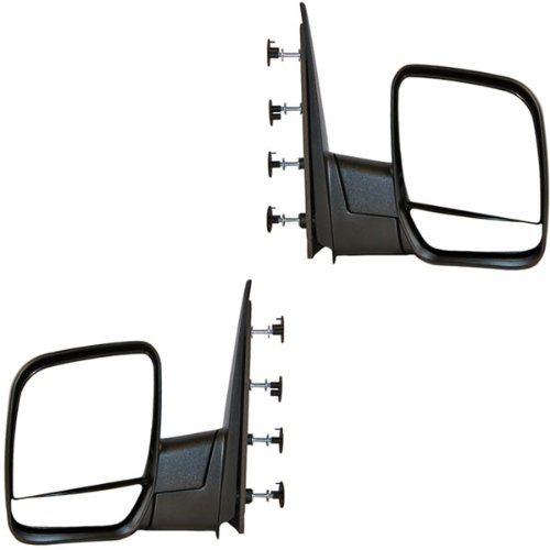 2002-2008 Ford Econoline Van E150, E250, E350, E450, E550 Manual Folding Black Textured (Single Arm - Dual Glass) Rear View Mirror Pair Set: Left Driver AND Right Passenger Side (02 2002 03 2003 04 2004 05 2005 06 2006 07 2007 08 2008)